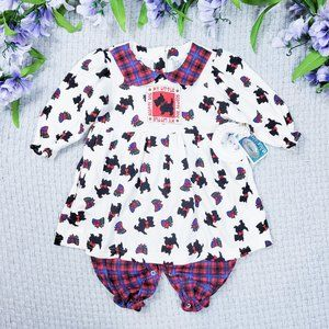 Little Miracles baby girl Scotty dog warm dress